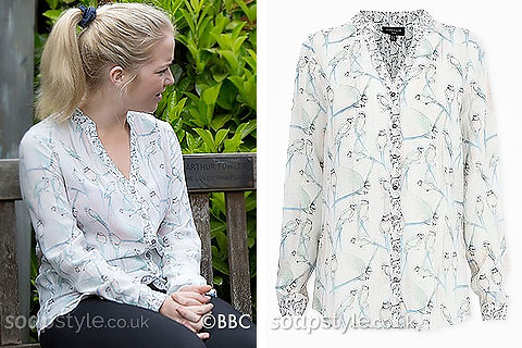 The bird blouse worn by Abi Branning