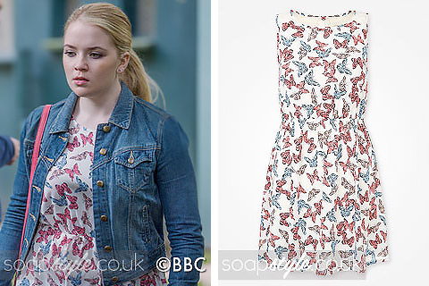 Abi's butterfly print dress in EastEnders