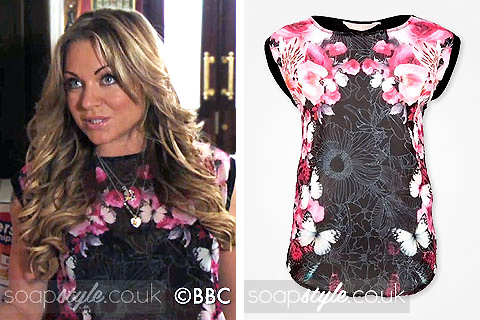 Roxy Mitchell's Black & Pink Butterfly Print Tee in EastEnders - Details - SoapStyle