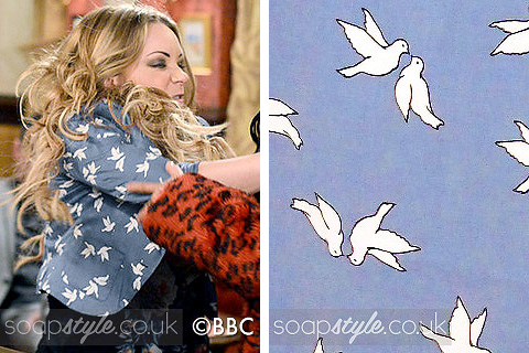 Roxy Mitchell's Blue Bird Print Blazer in EastEnders - SoapStyle