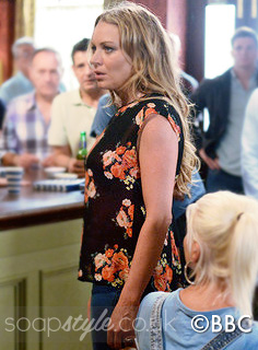 Roxy's Black & Red Floral Top in EastEnders - Episode - SoapStyle