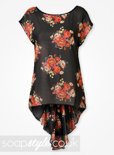 Roxy's Black & Red Floral Top in EastEnders - Details - SoapStyle