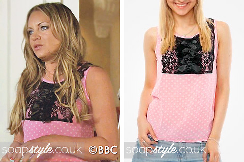 Roxy Mitchell's Pink Top with Black Lace in EastEnders - Details - SoapStyle
