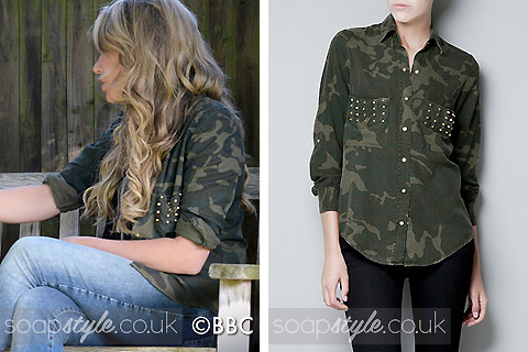 A match for Roxy Mitchell's camouflage shirt in EastEnders
