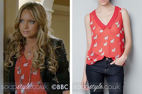 Roxy Mitchell's Red Cat Print Top in EastEnders - Details - SoapStyle