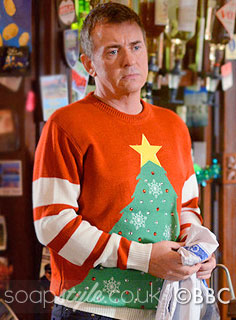 SoapStyle.co.uk - EastEnders - Alfie's Red & White LED Christmas Tree Jumper - 13th December