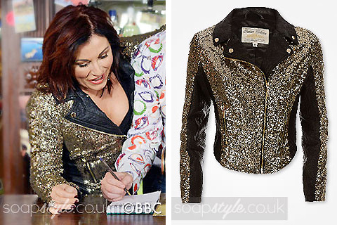 SoapStyle.co.uk - EastEnders - Kat's Gold Sequin Biker Jacket - 19th December - Where From