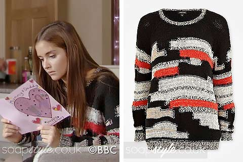 SoapStyle.co.uk - EastEnders - Lauren's Black, Red & Cream Mix Knit Jumper - 17th December - Where From
