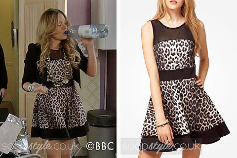 Picture of a match for Roxy Mitchell's leopard print skater dress in EastEnders