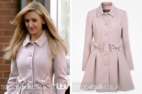 SoapStyle.co.uk - Coronation Street - Eva Price Pink Bow Coat - On Screen