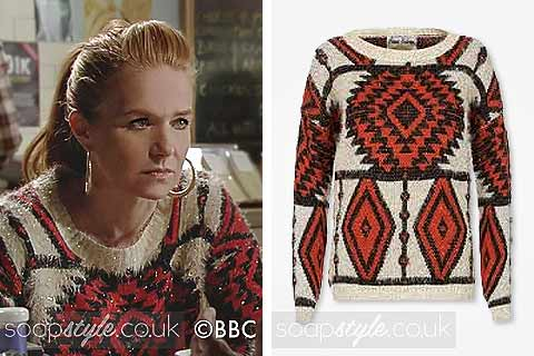 Picture of Bianca wearing her fluffy Aztec jumper in EastEnders