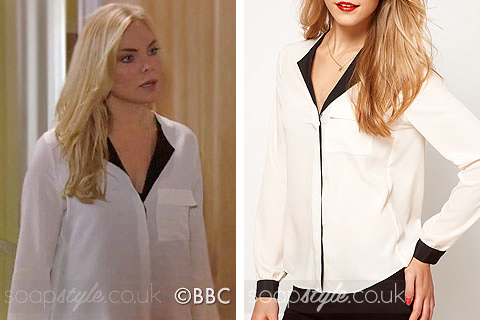 Picture of Ronnie wearing her black & white blouse in EastEnders