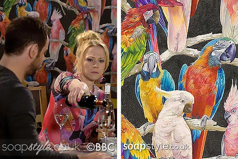 Picture: The parrot print wallpaper in the Queen Vic during EastEnders