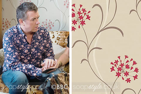 Picture: Kat & Alfie's floral print living room wallpaper in EastEnders
