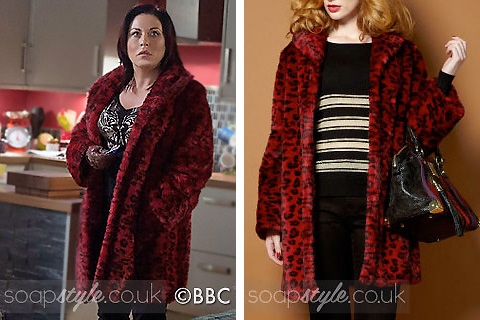 Kat (Jessie Wallace) wearing her red faux fur animal print coat in EastEnders