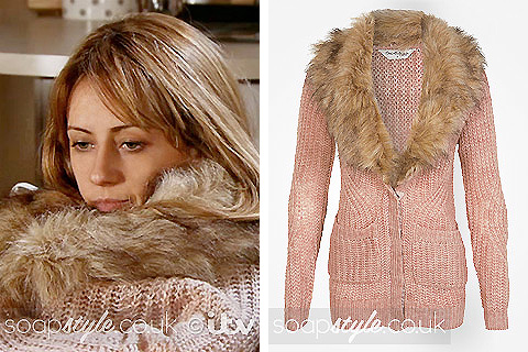 SoapStyle.co.uk - Maria's Pink Fur Collar Cardigan - Where From