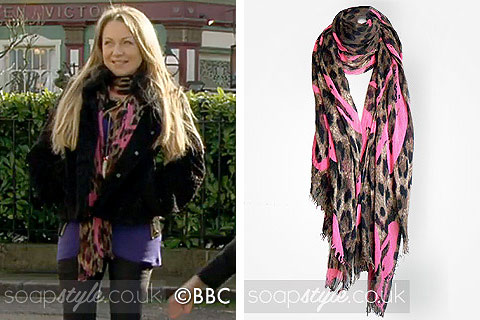Roxy Mitchell's Pink & Leopard Print Scarf in EastEnders - SoapStyle