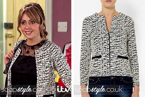 Picture of Maria Connor wearing her black and white cropped jacket in Corrie
