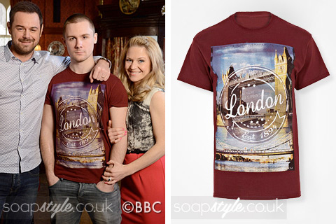 SoapStyle.co.uk - EastEnders - Lee Carter's Red London Print T-Shirt - Where From