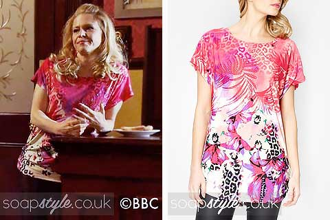 Linda Carter's Pink Tropical Print Top