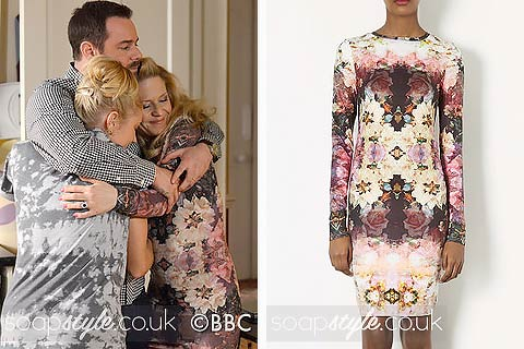 The floral bodycon dress worn by Linda Carter in EastEnders