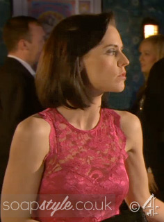 SoapStyle.co.uk - Hollyoaks - Cindy's Pink Lace Midi Dress - On Screen
