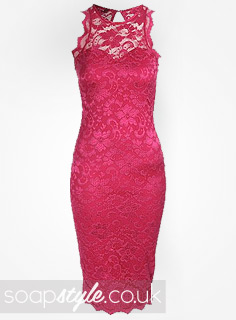 Cindy's Pink Lace Midi Dress
