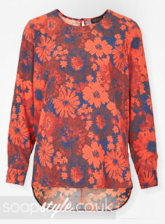 Lindsey's Red & Blue Floral Blouse