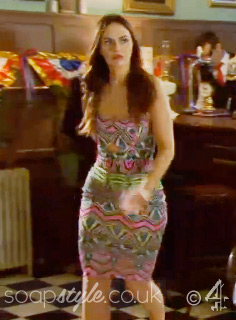 SoapStyle.co.uk - Hollyoaks - Mercedes Neon Tribal Aztec Pattern Midi Dress - 22nd April - On Screen