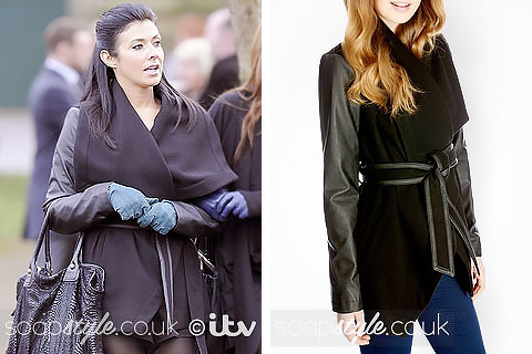 Picture of Michelle wearing her waterfall coat in Coronation Street
