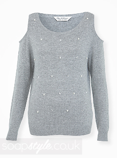 SoapStyle.co.uk - Hollyoaks - Carmel's Grey Cutout Shoulder Jumper