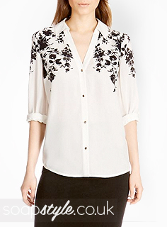 SoapStyle.co.uk - Hollyoaks - Sienna's Black Floral Print Shirt - Where From
