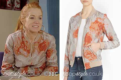 Picture of Bianca wearing her floral bomber jacket in EastEnders