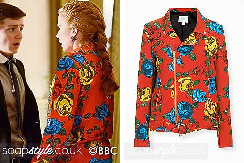 Picture of Bianca wearing her red floral print biker jacket in EastEnders