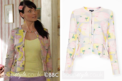 Picture of Honey wearing her floral jacket in EastEnders