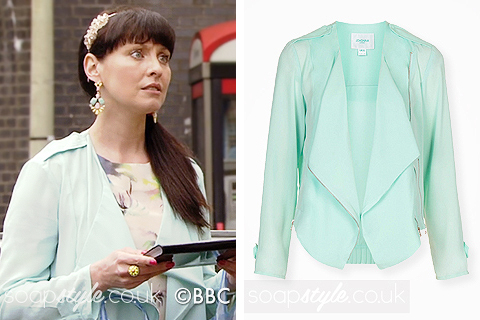 Picture of Honey wearing her turquoise waterfall jacket in EastEnders