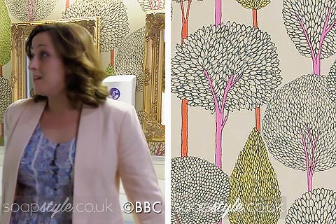 Picture: A match for the Queen Vic ladies bathroom tree print wallpaper in EastEnders