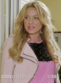 Picture of Roxy wearing her cropped pink jacket in EastEnders