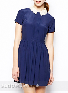 Sienna's Blue Dress With White Collar