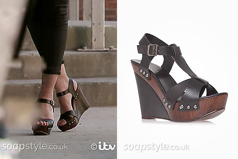 SoapStyle.co.uk - EastEnders - Carla Connor's Black Wedge Sandals - On Screen