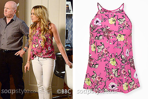 Roxy Mitchell's Pink Floral Top in EastEnders - Details - SoapStyle