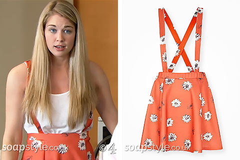 Holly's Orange Daisy Print Pinafore Skirt