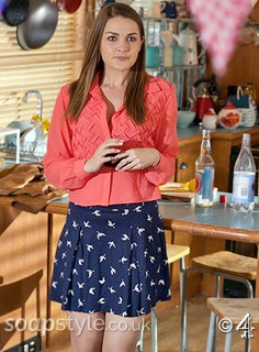 SoapStyle.co.uk – Hollyoaks – Sienna's Bird Print Skirt – July – Where From