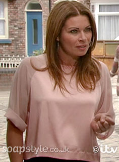 SoapStyle.co.uk - Coronation Street - Carla's Pink Satin Top - On Screen