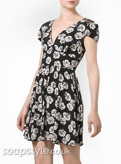 Eva's Floral Print Dress With Black Lace