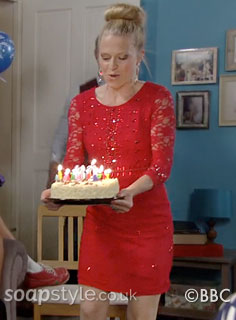 SoapStyle.co.uk - EastEnders - Linda's Red Sequin & Lace Dress - On Screen