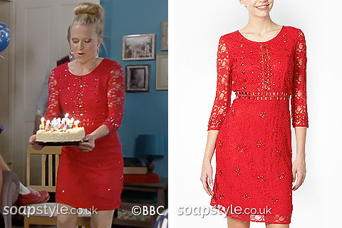 Linda's Red Lace & Sequin Dress