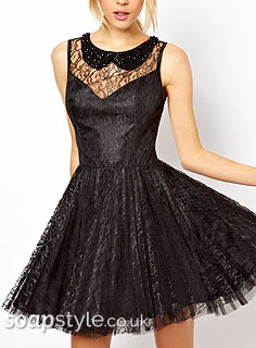 Sienna's Black Lace Prom Skater Dress