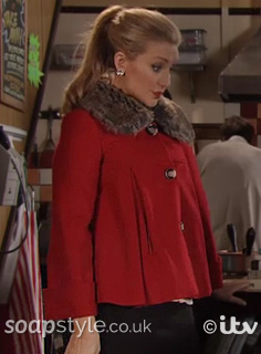 Eva Price's Cropped Red Coat in Coronation Street - SoapStyle