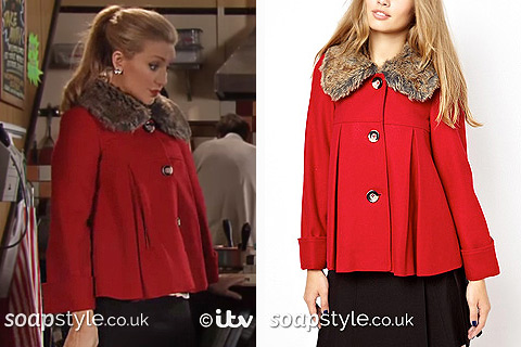 Eva Price's Cropped Red Coat in Coronation Street - Details - SoapStyle